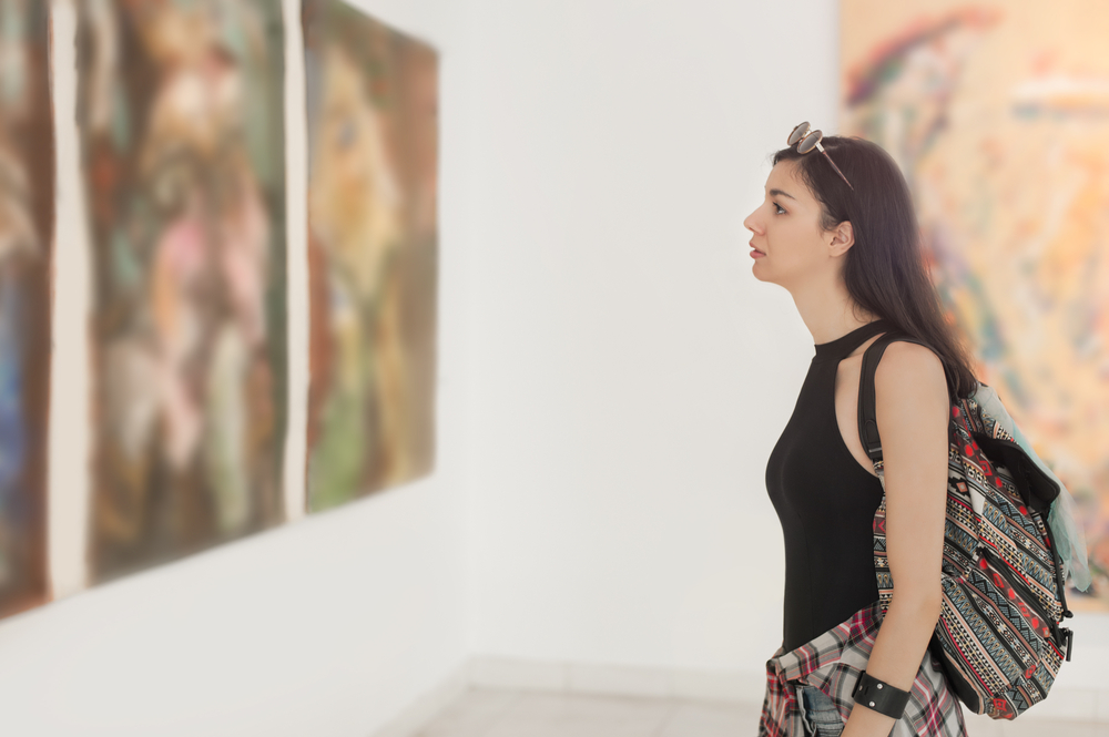 looking at art in a gallery