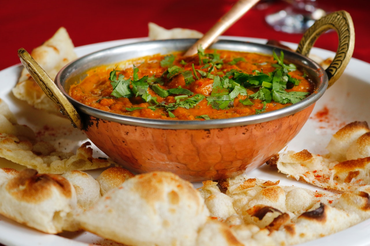 Indian food and naan