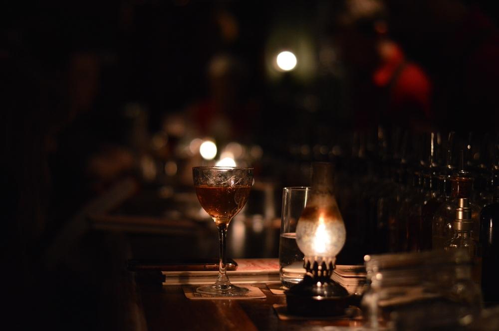 cocktails at a speakeasy