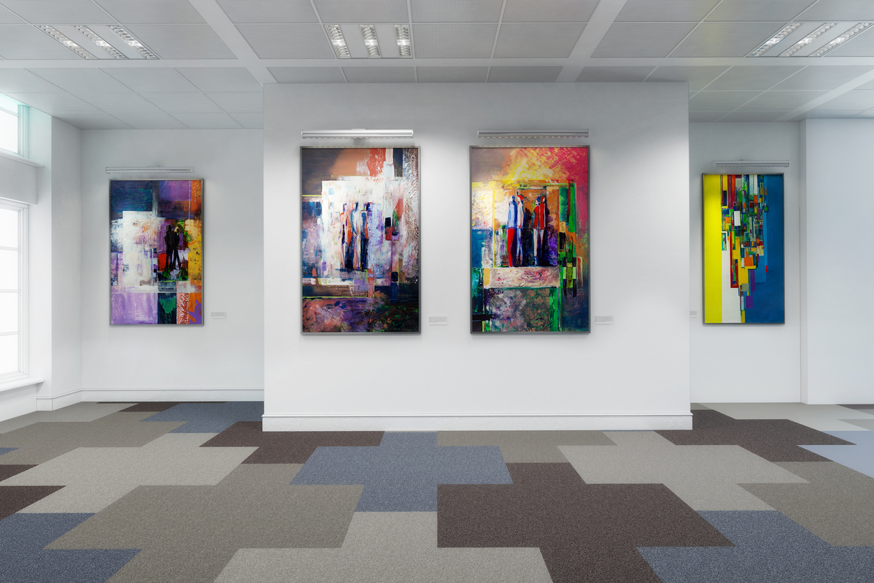 paintings hanging in an empty art museum virtual tour