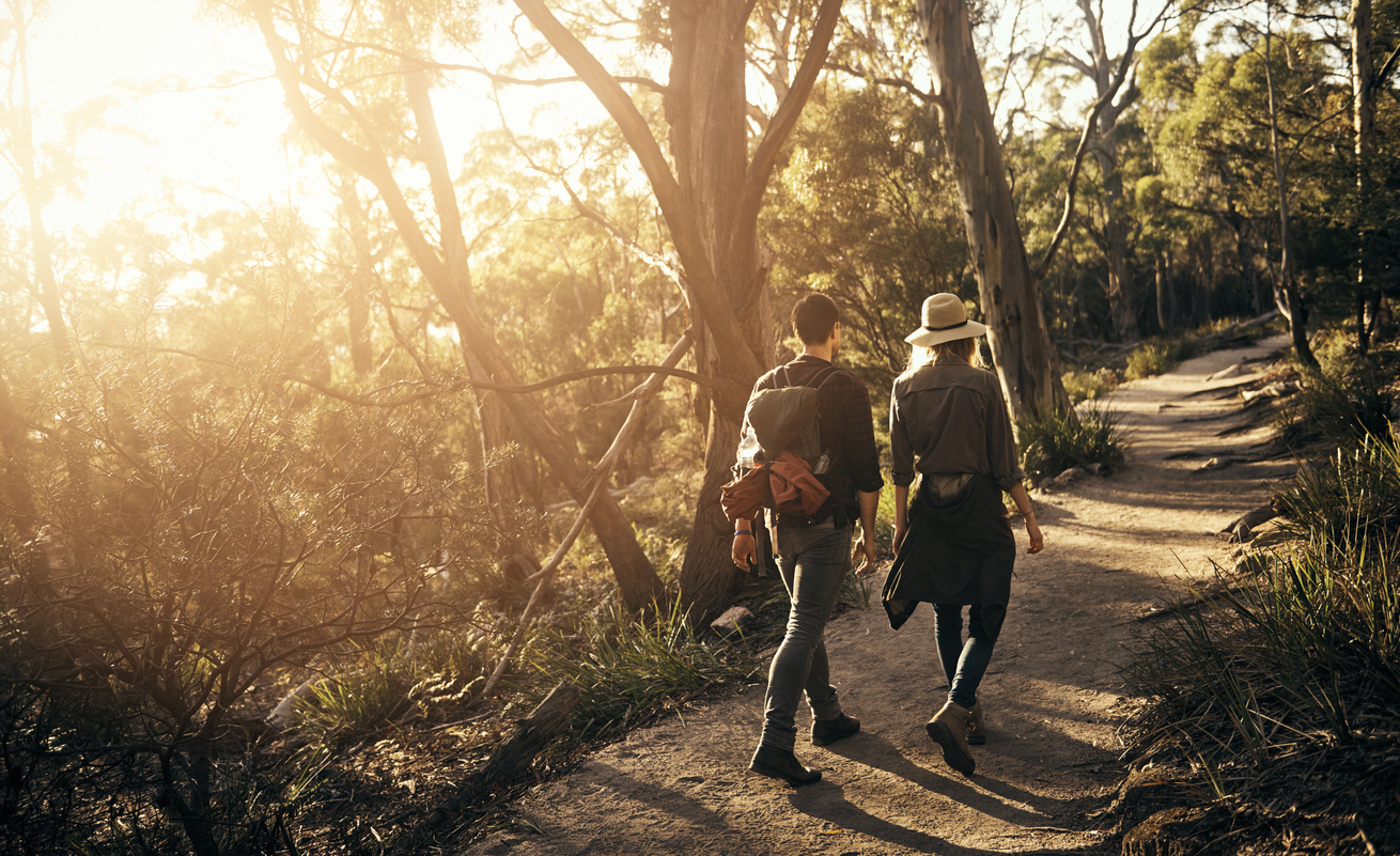 couple hiking on a trail in a park