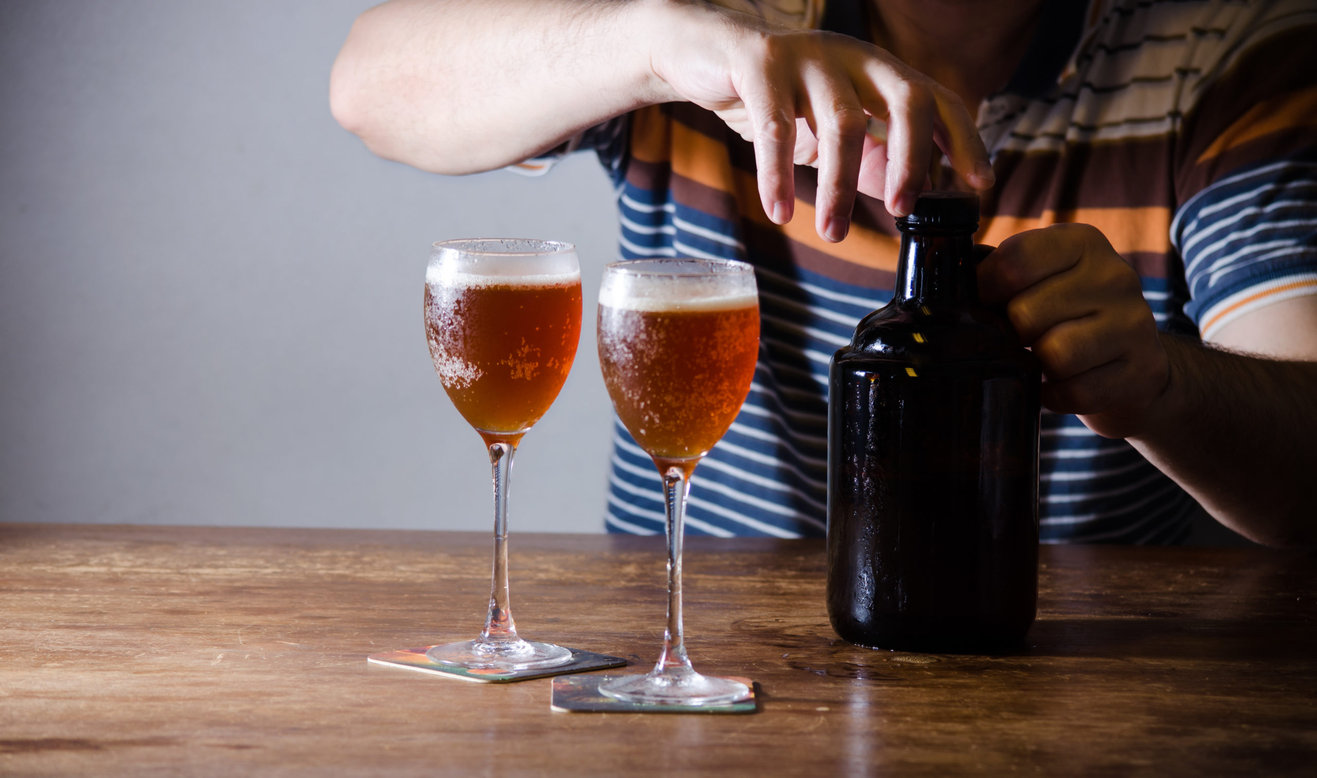 Serving a growler of craft beer from Arlington breweries