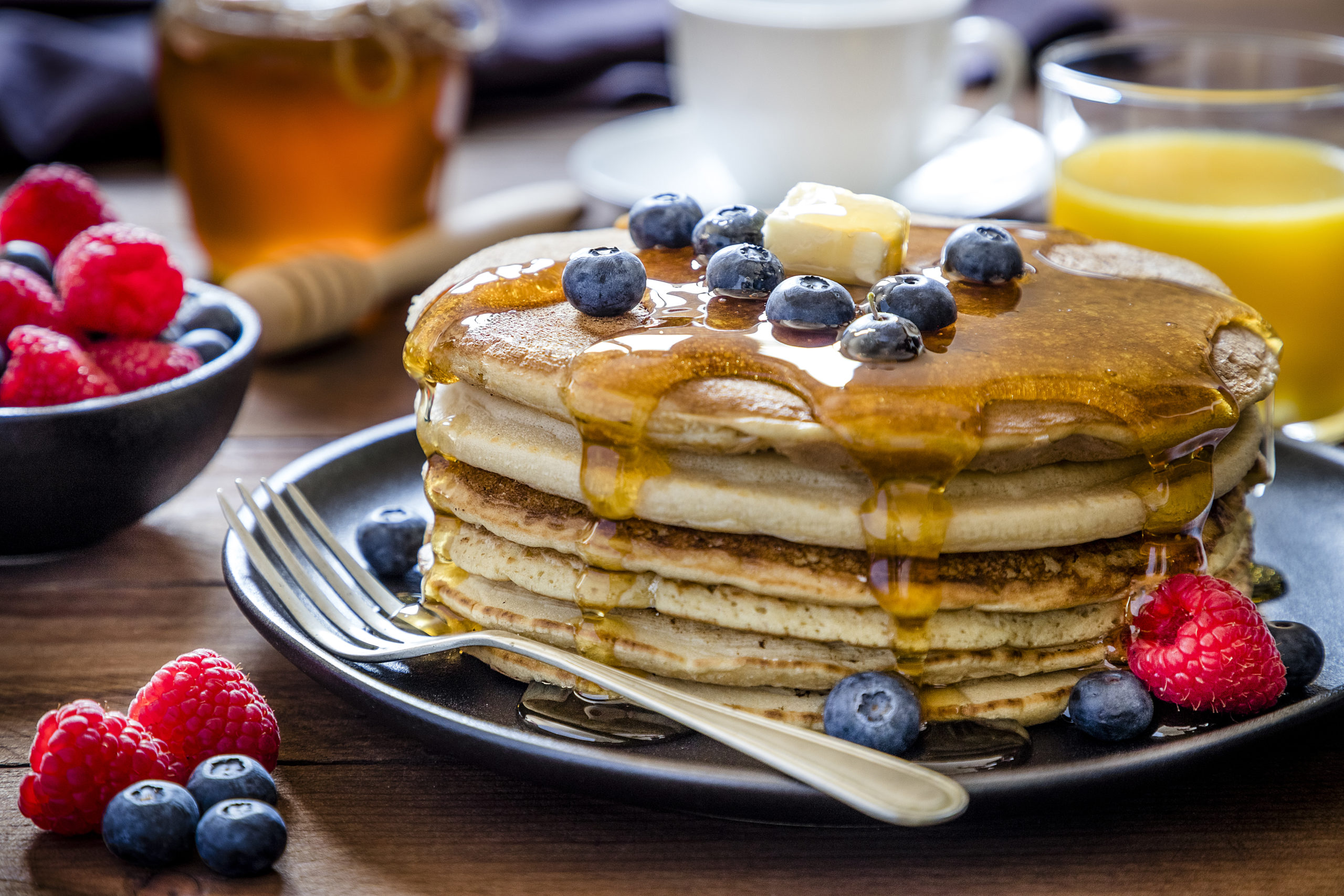 Shortstack of pancakes with berries and maple syrup | pancakes in Arlington, VA